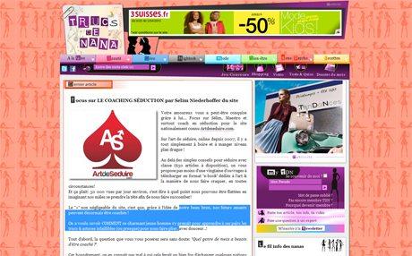 Trucs de nana ArtdeSeduire.com dans les médias