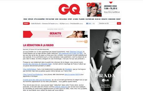 gqq ArtdeSeduire.com dans les médias