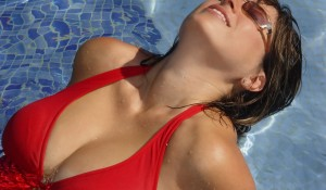 woman in the red swimming suit