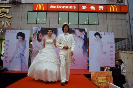 China - Wedding fantasy outside McDonald's