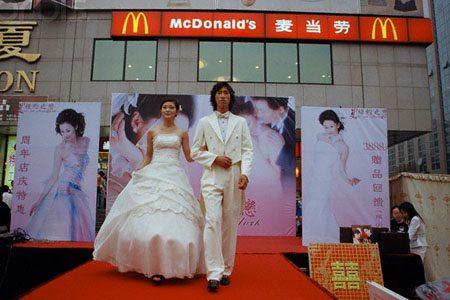 China - Wedding fantasy outside McDonald's