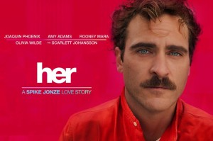 Her with Theodore Twombly on red movie poster wide 300x199 22 films de lovers pour séduire une fille sur votre canapé