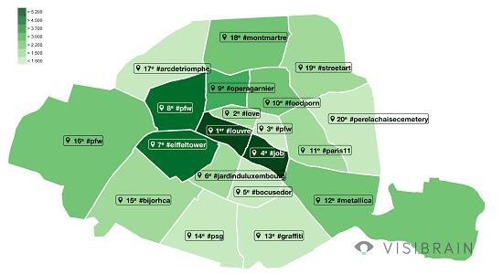 Carte des hashtags les plus populaires sur Instagram à Paris